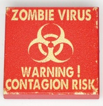 "Tile 2 x 2 с изображением ""Warning ZOMBIE VIRUS"""