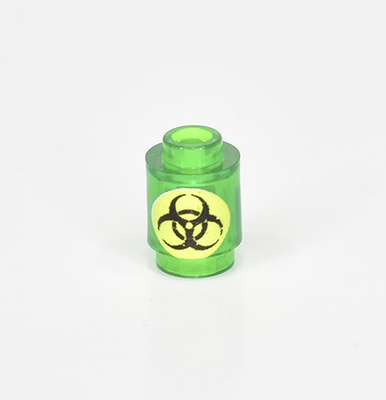 "Brick round 1x1 ""Biological hazard"" tr green"