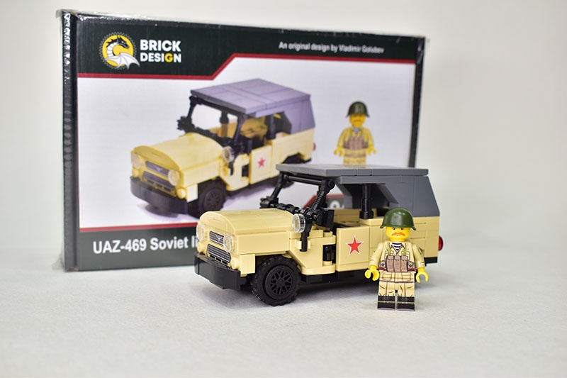 UAZ 469 TAN off-road military light utility vehicle with minifigure