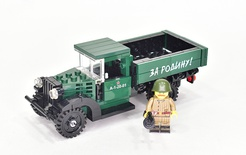 "GAZ-AA CARGO TRUCK 1.5t with custom Minifigure and printed ""За Родину!"" Model built from Lego parts"