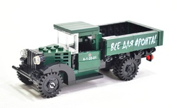 "GAZ-AA CARGO TRUCK 1.5t TRUCK set 1006 printed ""Все для фронта!"" Model built from Lego parts"
