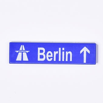 "Tile 1 x 4 with printed  ""Berlin"""