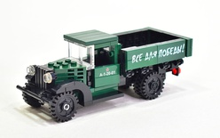 "GAZ-AA CARGO TRUCK 1.5t TRUCK set 1006 printed ""Все для победы!"" Model built from Lego parts"